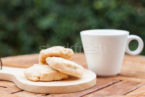 Cashew cookies with coffee cup Stock photo © punsayaporn