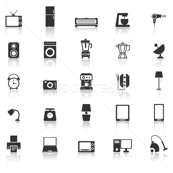 Household icons with reflect on white background Stock photo © punsayaporn