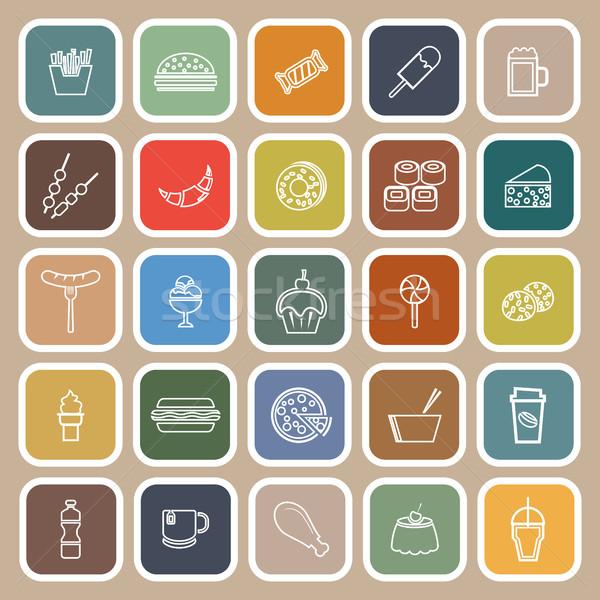 Fast food lijn iconen bruin voorraad vector Stockfoto © punsayaporn