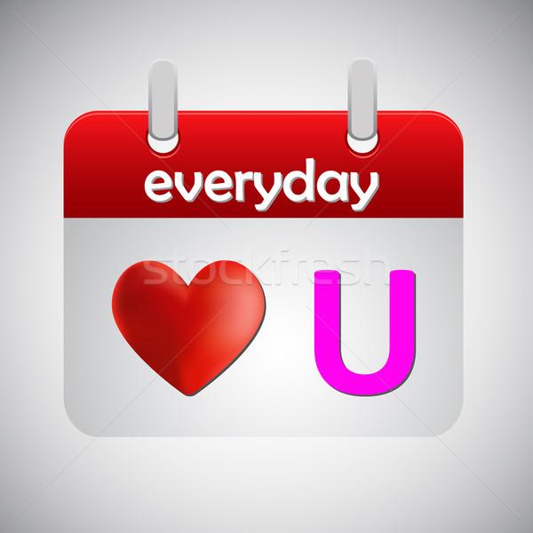 Miłości codzienny kalendarza ikona papieru czerwony Zdjęcia stock © punsayaporn