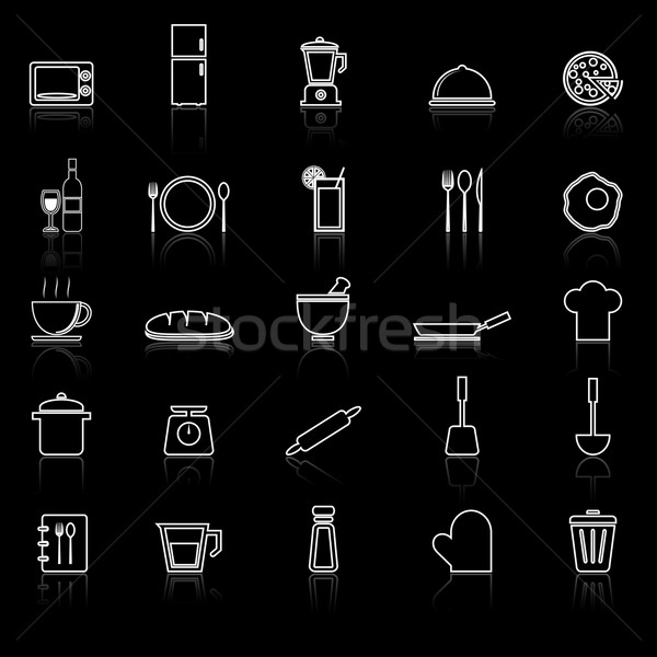 Kitchen line icons with reflect on black  Stock photo © punsayaporn