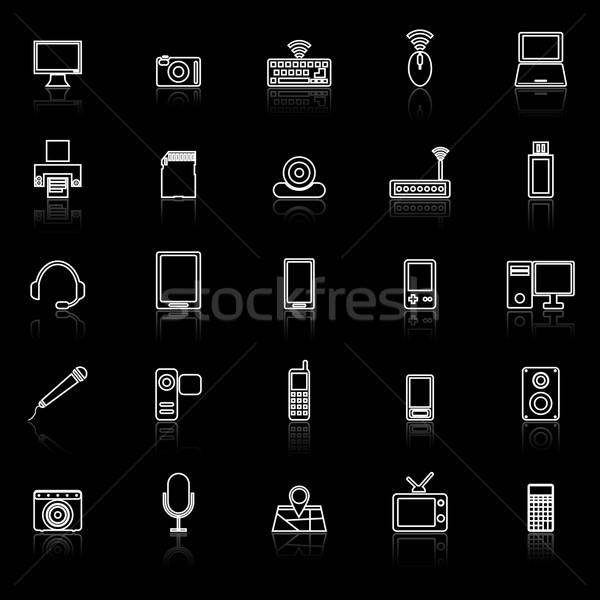 Gadget line icons with reflect on black Stock photo © punsayaporn