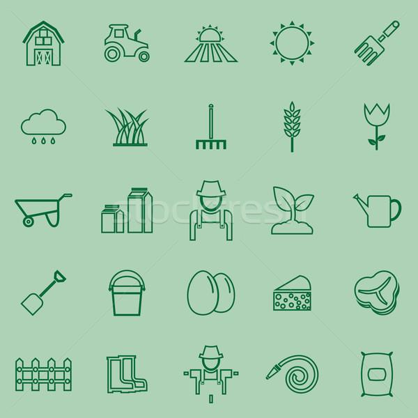 Farming line icons on green background Stock photo © punsayaporn
