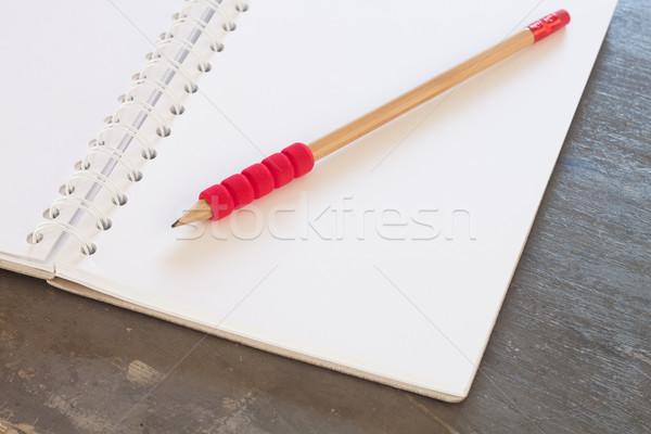 Notebook ceruza szürke üzlet iroda háttér Stock fotó © punsayaporn