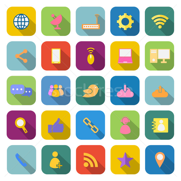 Network color icons with long shadow Stock photo © punsayaporn