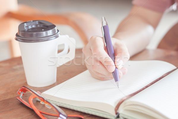 Donna iscritto carta da lettere stock foto business Foto d'archivio © punsayaporn