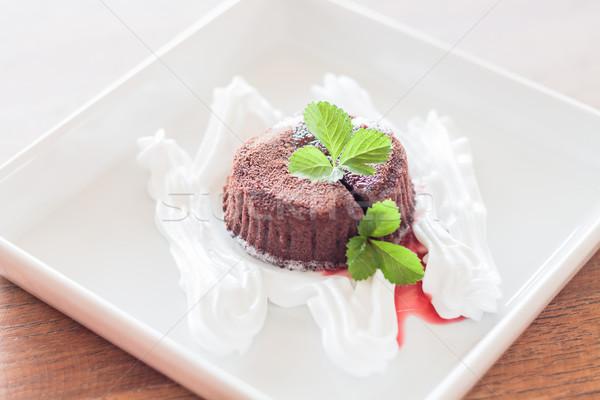 Chocolate lava with strawberry sauce Stock photo © punsayaporn