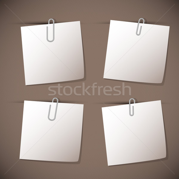 Stock photo: Note papers with paperclip on brown background