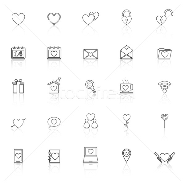 Love line icons with reflect on white background Stock photo © punsayaporn