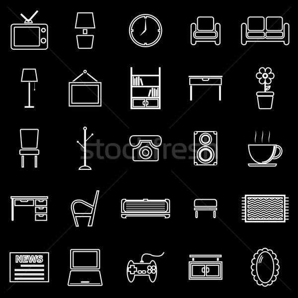 Living room line icons on black background Stock photo © punsayaporn