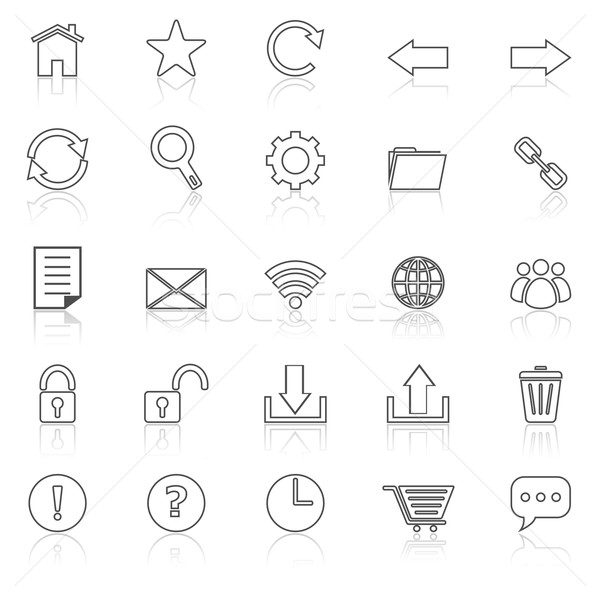 Tool bar line icons with reflect on white Stock photo © punsayaporn