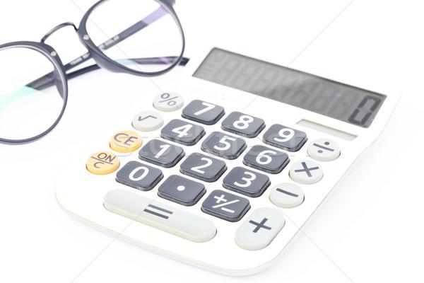 ストックフォト: 電卓 · 眼鏡 · 孤立した · 白 · 在庫 · 写真