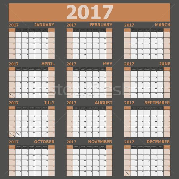 Calendario semana marrón stock vector oficina Foto stock © punsayaporn