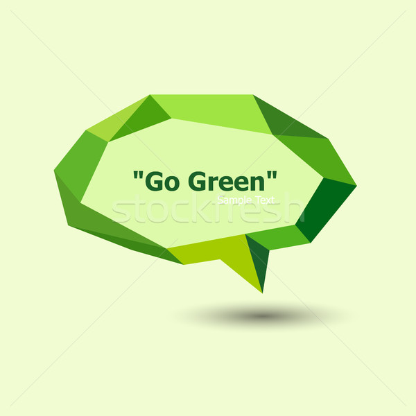 Groene meetkundig tekstballon voorraad vector abstract Stockfoto © punsayaporn