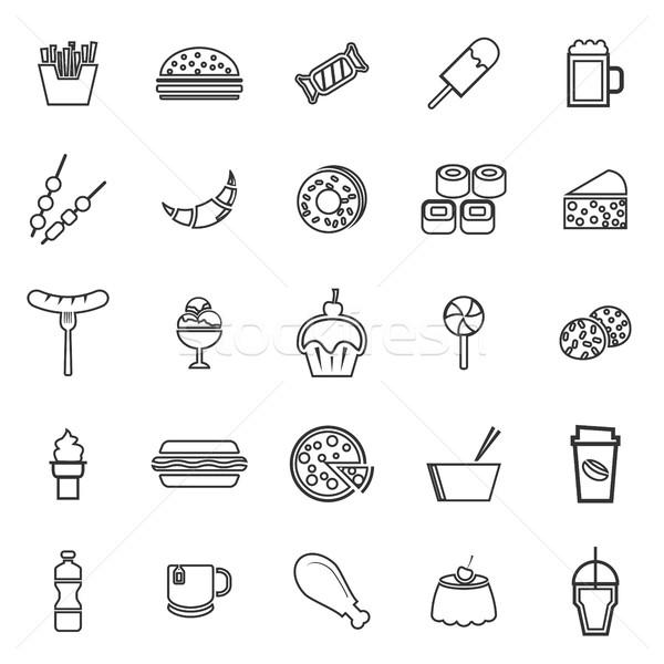 Fast food lijn iconen witte voorraad vector Stockfoto © punsayaporn