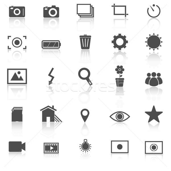 Photography icons with reflect on white background Stock photo © punsayaporn