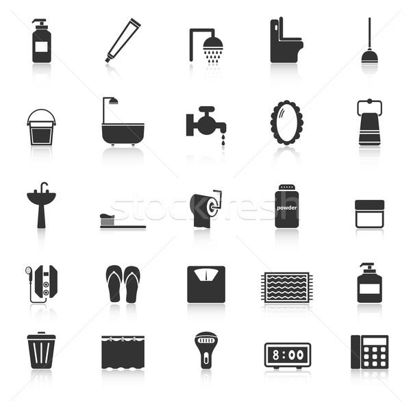 Bathroom icons with reflect on white background Stock photo © punsayaporn