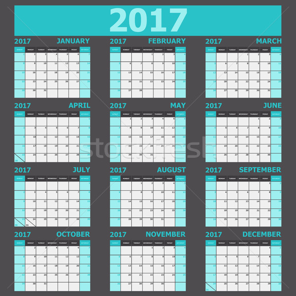 Calendar 2017 week starts on Sunday (light green tone) Stock photo © punsayaporn