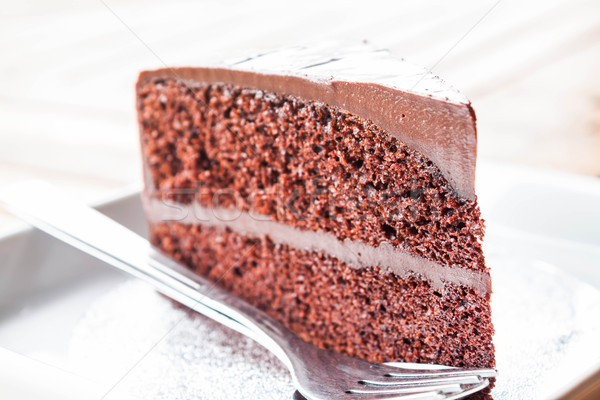 Chocolate custard cake serving on the table  Stock photo © punsayaporn