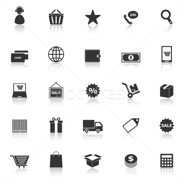E-commerce icons with reflect on white background Stock photo © punsayaporn