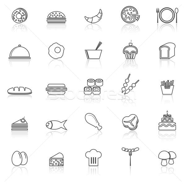 Food line icons with reflect on white Stock photo © punsayaporn
