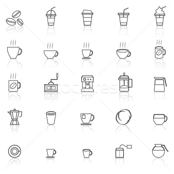 Foto stock: Café · linha · ícones · branco · estoque · vetor