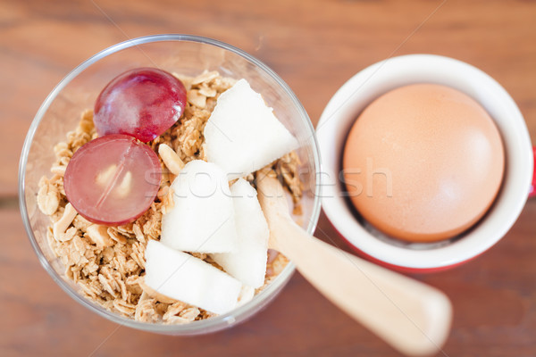 Granola with fruits and boiled egg Stock photo © punsayaporn