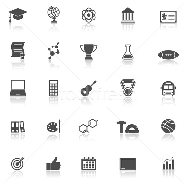College icons with reflect on white background Stock photo © punsayaporn