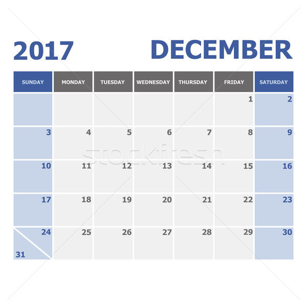 2017 December calendar week starts on Sunday Stock photo © punsayaporn