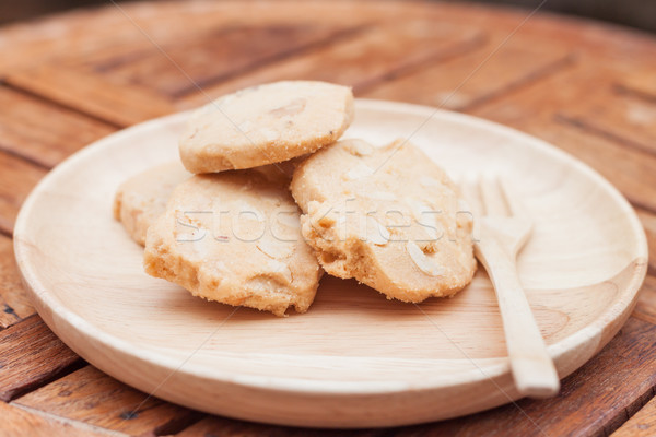 Cashew cookies on wooden plate Stock photo © punsayaporn