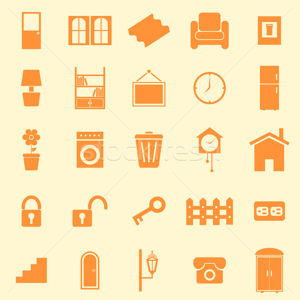 House related color icons on orange background Stock photo © punsayaporn