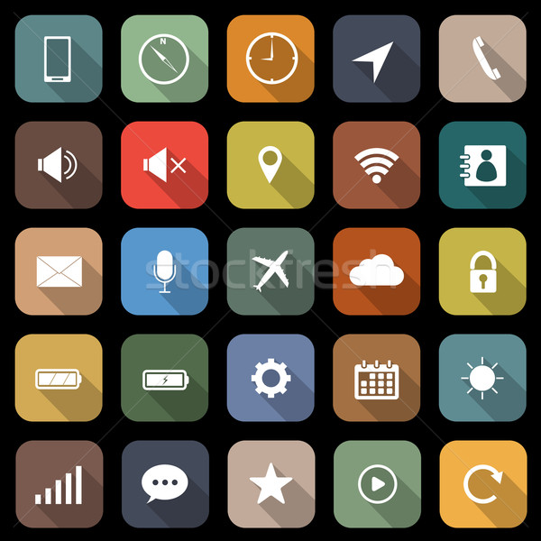 Mobile phone flat icons with long shadow Stock photo © punsayaporn