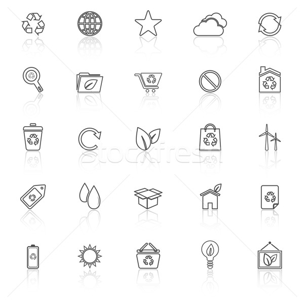 Ecology line icons with reflect on white background Stock photo © punsayaporn