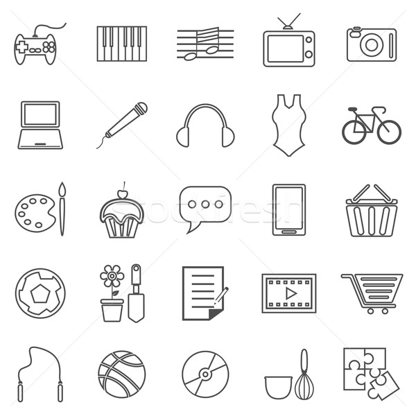 Hobby line icons on white background Stock photo © punsayaporn