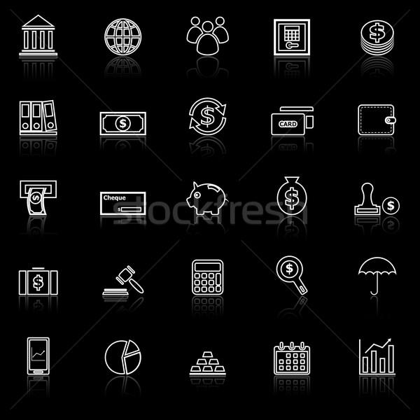 Banking line icons with reflect on black Stock photo © punsayaporn