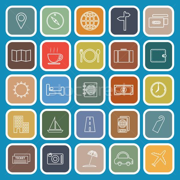 Reizen lijn iconen Blauw voorraad vector Stockfoto © punsayaporn