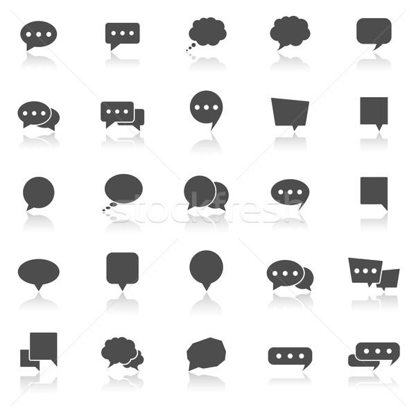 Balão de fala ícones branco estoque vetor projeto Foto stock © punsayaporn