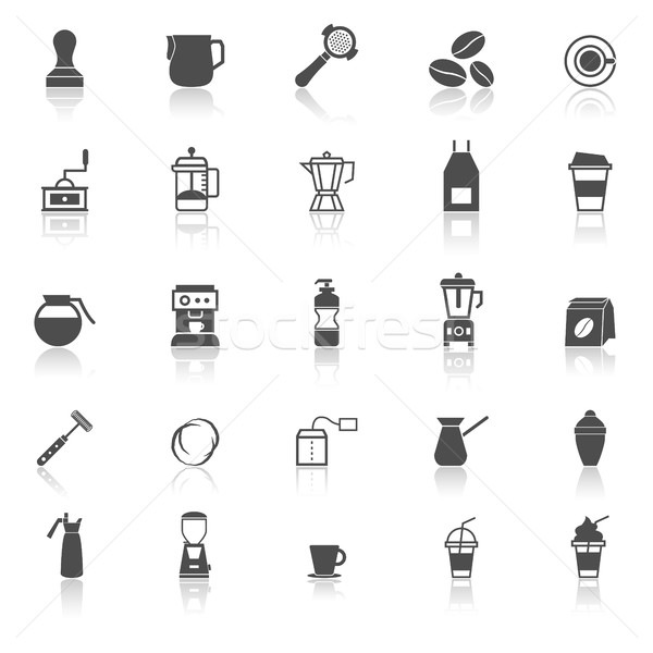 Barista icon with reflect on white background Stock photo © punsayaporn