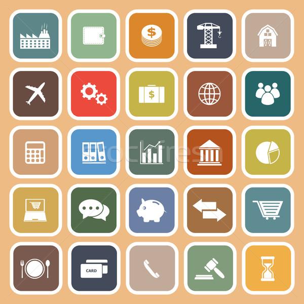 Stock photo: Economy flat icon on orange background