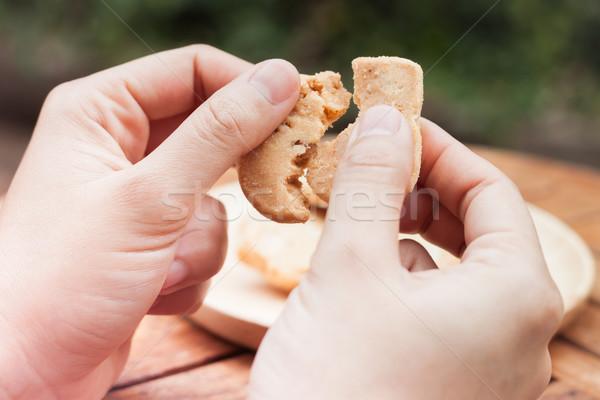 Kéz tart kesudió sütik stock fotó Stock fotó © punsayaporn