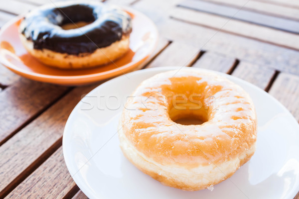 Glazed donut and chocolate coating donut Stock photo © punsayaporn