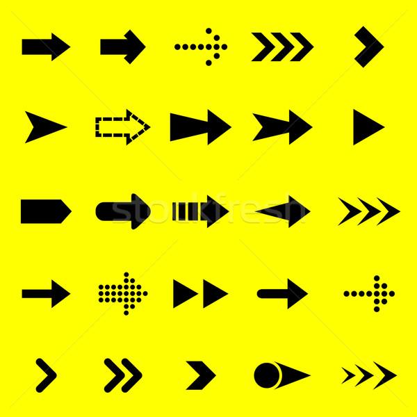 Pijl zwarte iconen Geel voorraad vector Stockfoto © punsayaporn