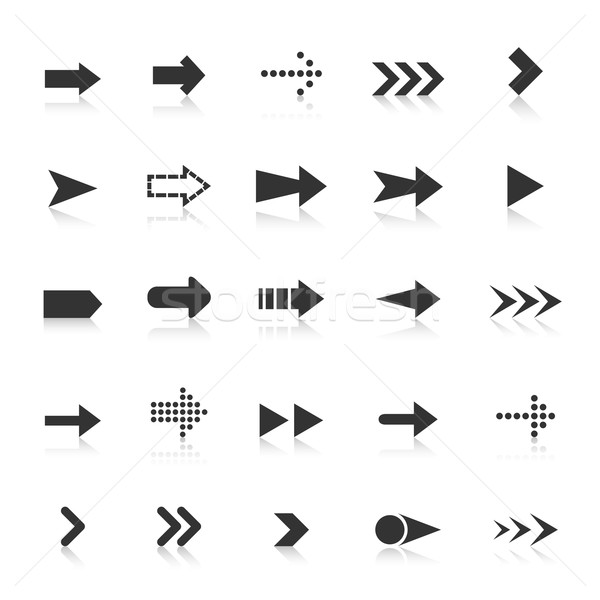Stock photo: Arrow icons with reflect on white background