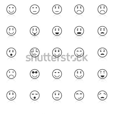 Circle face line icons with reflect on black background Stock photo © punsayaporn