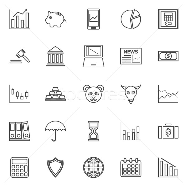Stock market line icons on white background Stock photo © punsayaporn