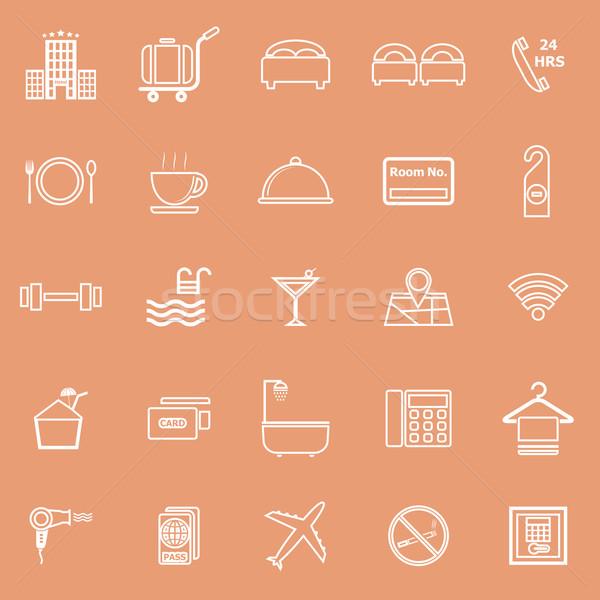 Hotel line icons on orange background Stock photo © punsayaporn