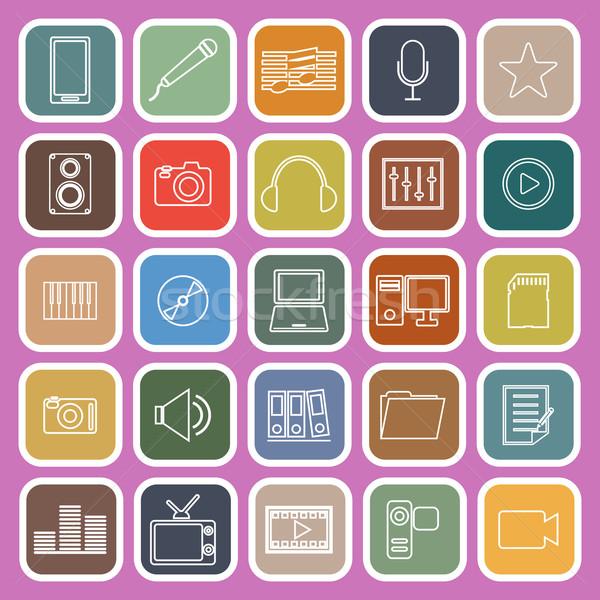 Media line flat iocns on pink background Stock photo © punsayaporn