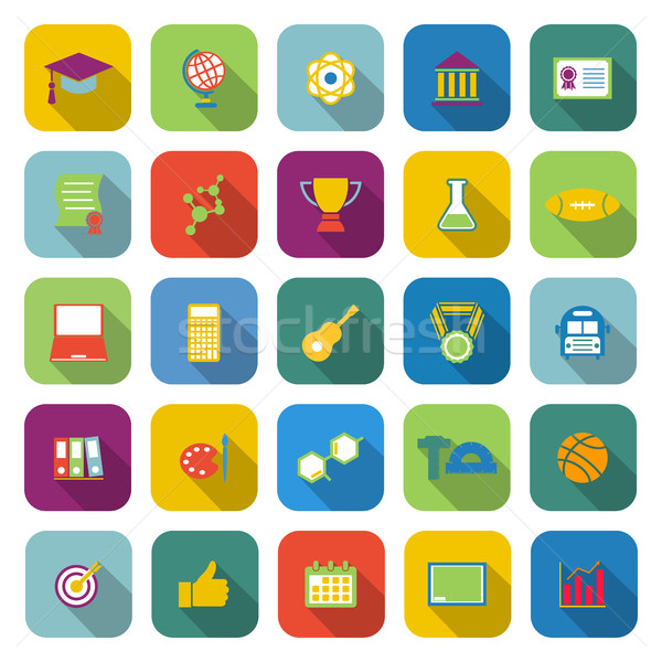 College color icons with long shadow Stock photo © punsayaporn