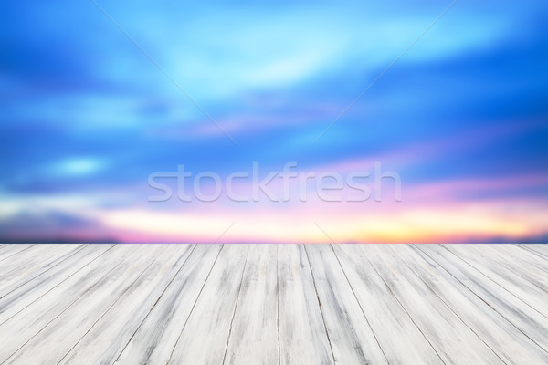 Stock photo: Empty white table top wooden with sunset background