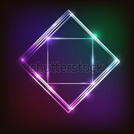Absztrakt neon négyzetek stock vektor divat Stock fotó © punsayaporn